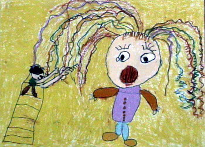 我帮妈妈梳头发儿童画作品欣赏