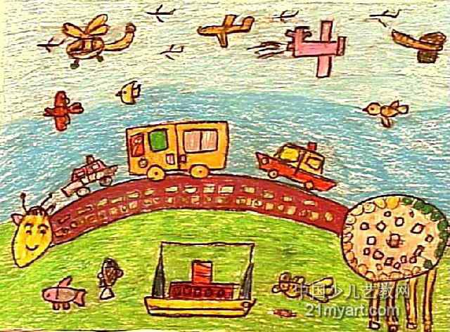 大桥儿童画作品欣赏