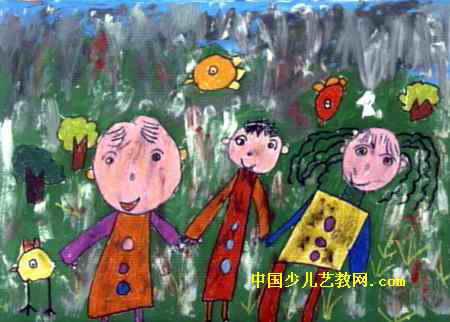 全家福儿童画(一)5幅
