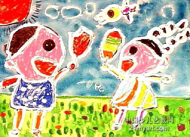 冰淇淋真好吃儿童画作品欣赏