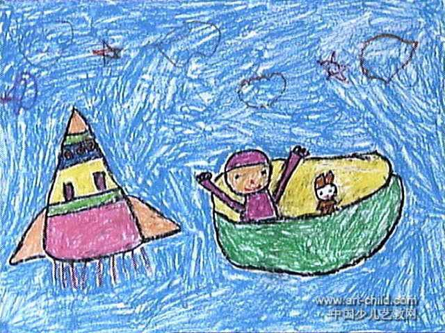 到太空旅游儿童画作品欣赏