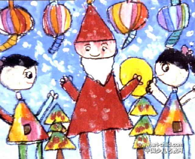 圣诞节的油画棒画-圣诞节到了儿童画图片