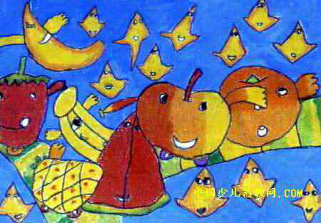 水果列车儿童画,此幅油画棒画大小为313x450像素