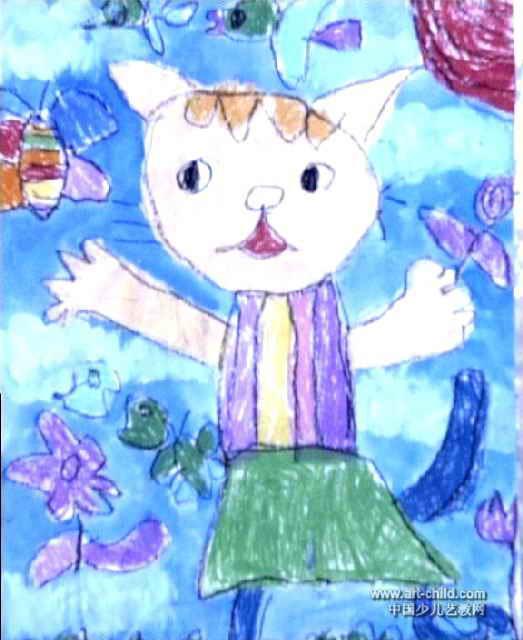 小花猫儿童画作品欣赏