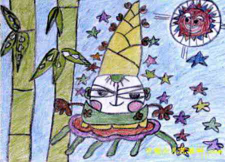 笋娃娃和太阳儿童画