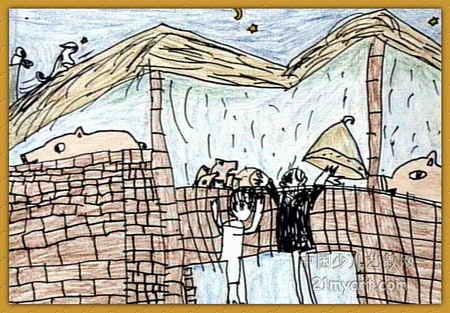 姥姥家的猪儿童画