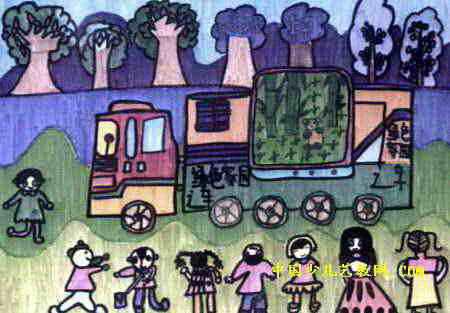 宣传车儿童画,此幅水彩画大小为313x450像素