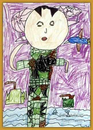 迷彩服儿童画