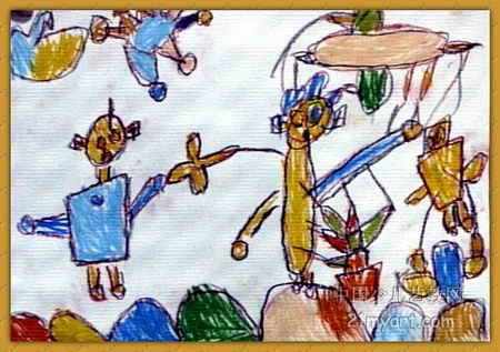 太空之战儿童画图片