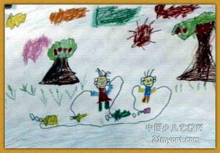 快乐的一天儿童画10幅 第2张