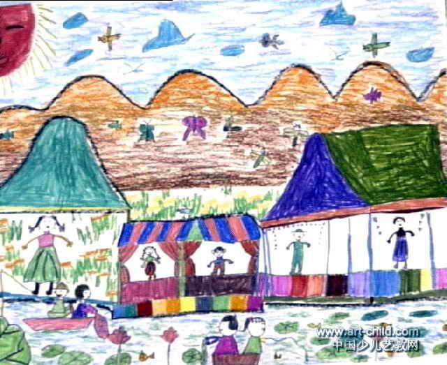 农村新貌儿童画作品欣赏