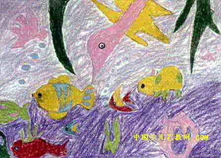 可爱的海洋生物儿童画,此幅水粉画尺寸为323x450像素 .