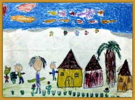 美好的一天儿童画3幅 第2张