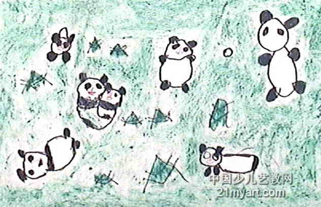 熊猫的一家油画棒儿童画,此幅油画棒画大小为408x632像素,作者贺燕燕,来自郑州市郑煤集团公司王庄矿幼儿园,女,4岁。