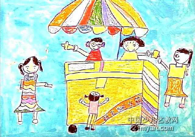 我爱吃冰淇淋儿童画作品欣赏