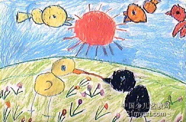 儿童画 吕睿/这是我的儿童画,这幅油画棒画作品长421px,宽640px,作者吕...