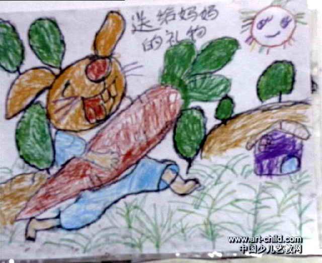 送给妈妈的礼物儿童画2幅