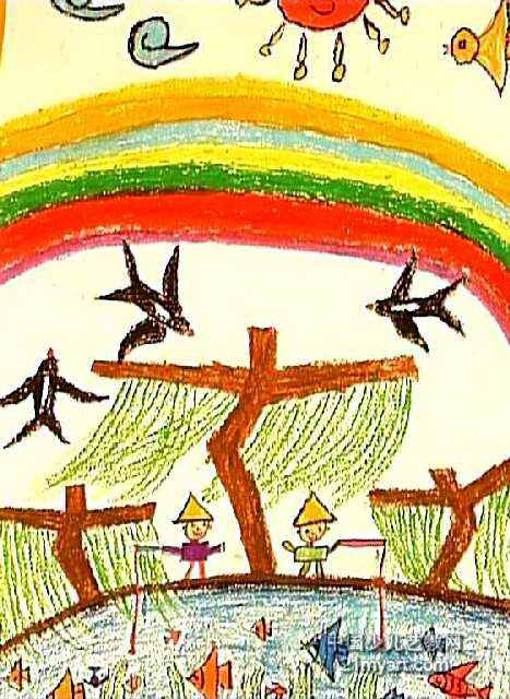 彩虹高高挂儿童画作品欣赏