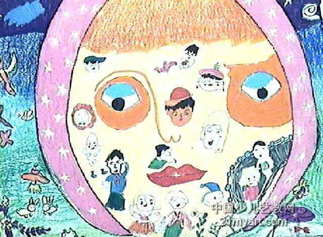 月亮姐姐儿童画3幅(第2张)