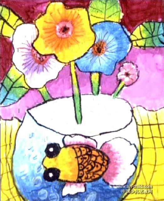花瓶儿童画 三 7幅 第4张图片