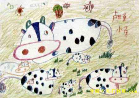 花花牛的一家儿童画