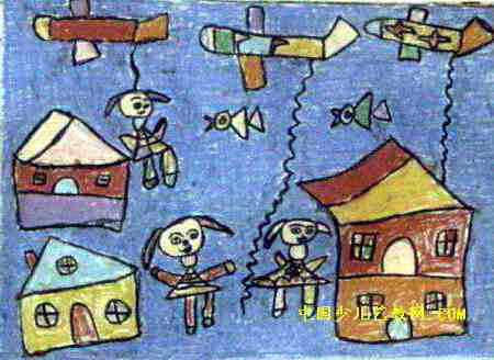 观光飞机儿童画