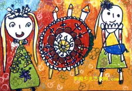 生日快乐儿童画,此幅油画棒画大小为312x450像素