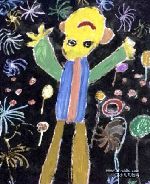 看烟火儿童画属于油画棒画,作品长640px,宽523px,作者牛宇婷,女,4岁,就读河南省文化厅艺术幼儿园.