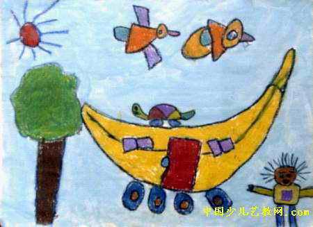 房子汽车儿童画