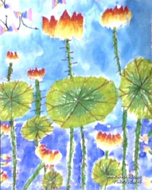 荷花儿童画,这幅油画棒画作品长640px,宽515px,作者王吟贺,女,6岁