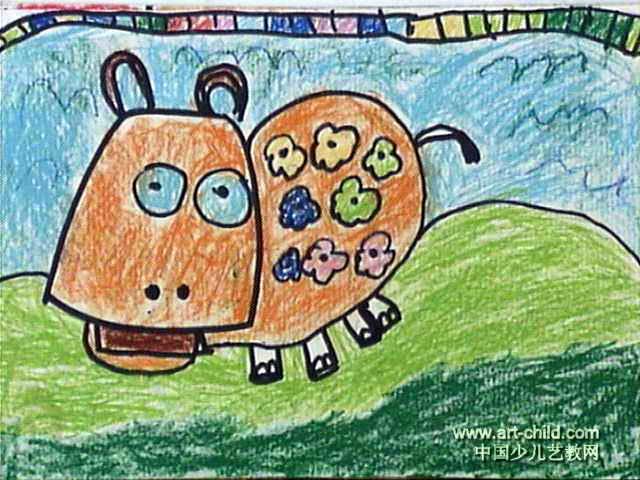 小河马穿花衣儿童画作品欣赏