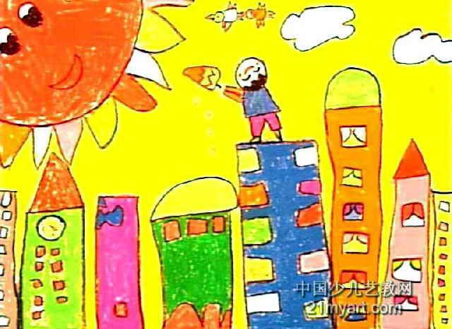 我请太阳吃冰糕儿童画作品欣赏