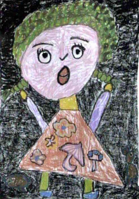 儿童油画棒简笔画_妈妈,我怕……儿童画作品欣赏