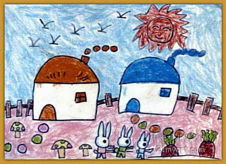 小白兔拔萝卜儿童绘画展示