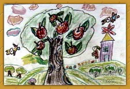 快乐的苹果树儿童画