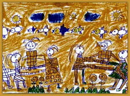 抬花轿儿童画