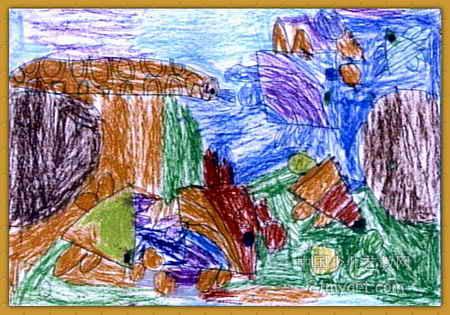 儿童画 桑晓杰/七彩的海底世界儿童画属于油画棒画,作品长315px,宽450px,...
