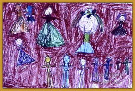公主和王子油画棒儿童画