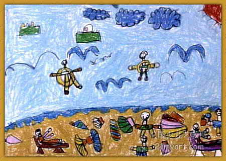 海边度假儿童画
