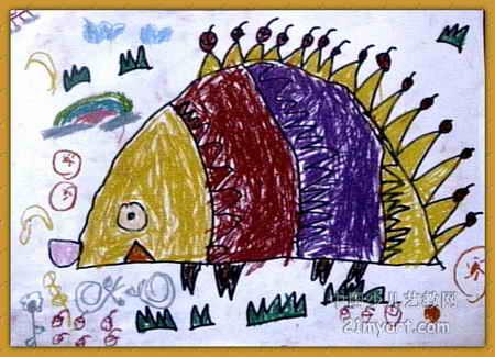 小刺猬背果子儿童画4幅(第3张)