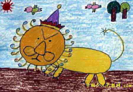 狮子散步儿童画,这幅油画棒画作品长311px