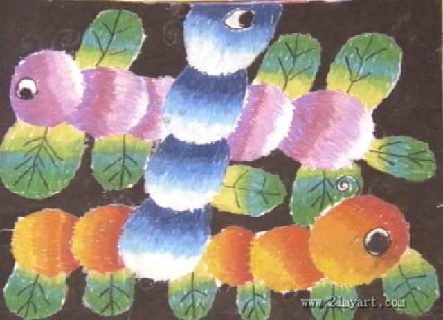 多彩的毛毛虫孩童画,此雕刻幅油画棒儿子画创干长462px,广大为怀640px,干者邓林,男,6
