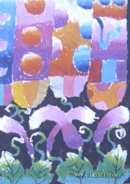 茄子下多彩的房屋儿童画图片