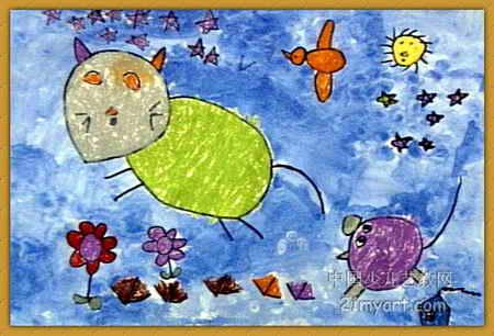 儿童画 刘乐妍/夜晚儿童画,此幅油画棒画尺寸为306x450像素,作者刘乐妍,女...