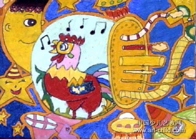 鸡儿到太空报晓儿童画作品欣赏
