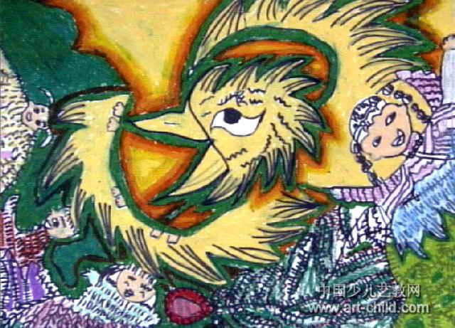 火鸟家庭人真多儿童画作品欣赏