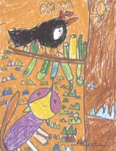 狐狸和乌鸦儿童画3幅 第2张