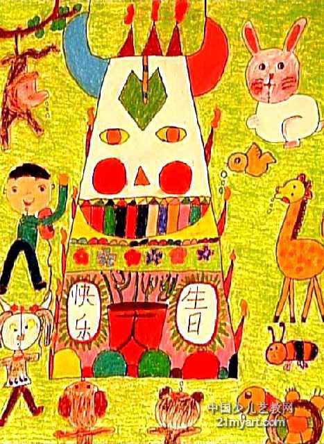 儿童油画棒简笔画_大家一起过生日儿童画作品欣赏