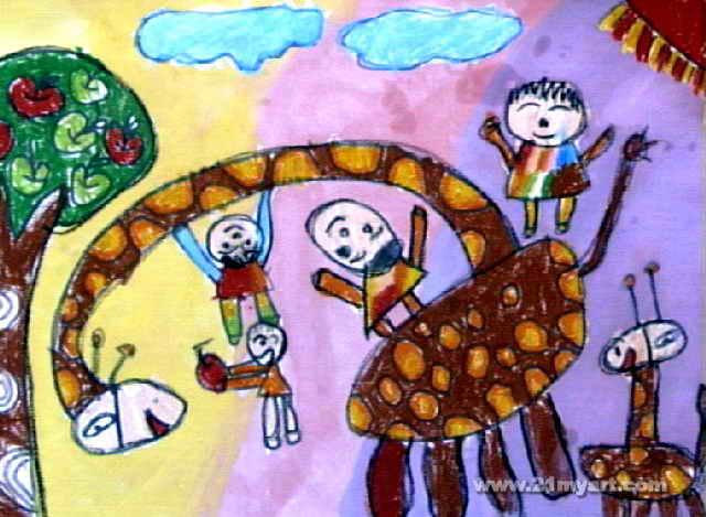 可爱的长颈鹿儿童画4幅