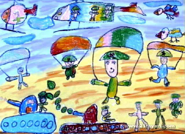 小伞兵油画棒儿童画